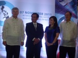 Mr. Reinor Gloor, president of the Pharmaceutical and Healthcare Association of the Philippines, delivering PHA message to the Galing Likha Kalusugan Awards, DOH Secretary Enrique Ona, Presidential Sister Ms. Aurora Corazon Aquino-Abellada, and Dr. Alejandro Herrin, Chair, Galing Likha-Kalusugan Awards Project Steering Committee